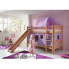 Litera con cortinas lila rosa