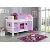 Literas de madera con cortinas lila rosa